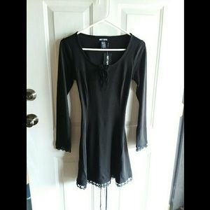 NWT Hot Topic Black Long Sleeve Dress